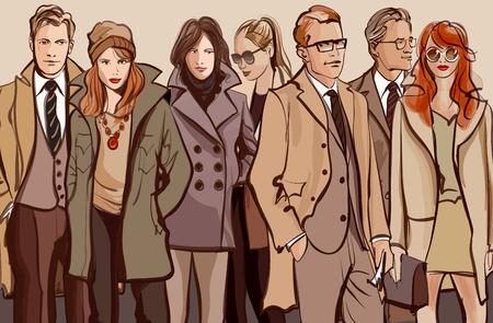 Groep mensen staan in een rij - Vector illustratie
