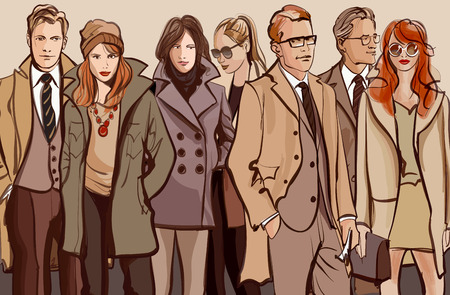 ink painting: Group of people standing in a row - Vector illustration Illustration
