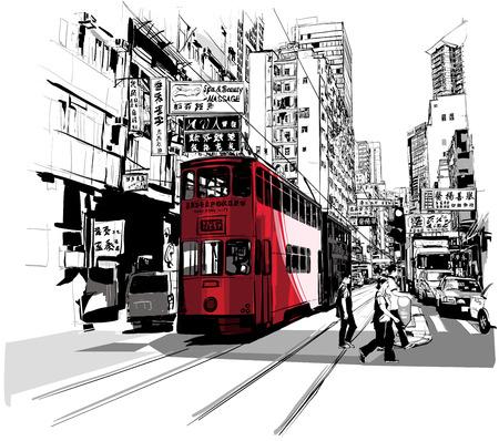 grafisch ontwerp: Straat in Hong Kong - Vector illustratie