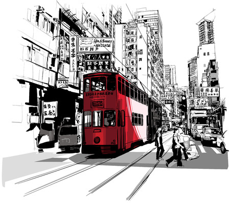 Street in Hong Kong - Vector illustration Çizim