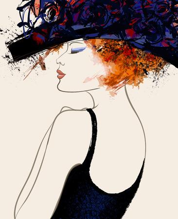illustrazione moda: Donna moda modello con cappello - illustrazione vettoriale