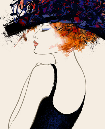 female portrait: Woman fashion model with hat - vector illustration