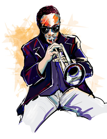 trumpet player: Vector illustration of a trumpet player
