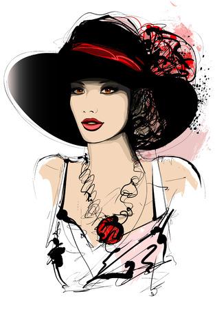 ベクトル イラスト - 白い背景上の帽子を持つ女性