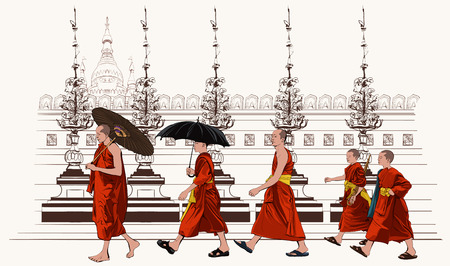 myanmar: Buddhist monks walking in a temple - vector illustration