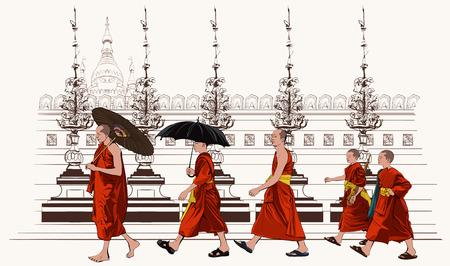 moine: Moines bouddhistes marchant dans un temple - illustration vectorielle Illustration