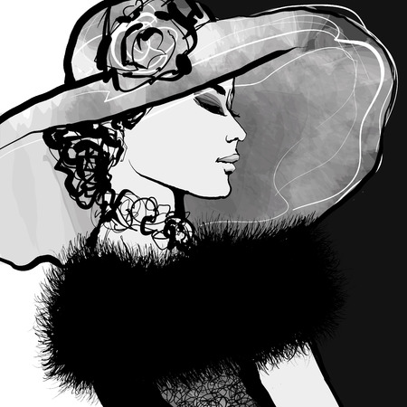Young woman with hat and fur - Vector illustration