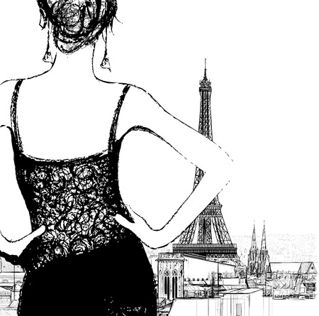 woman sketch: Young woman looking over Paris - Vector illustration
