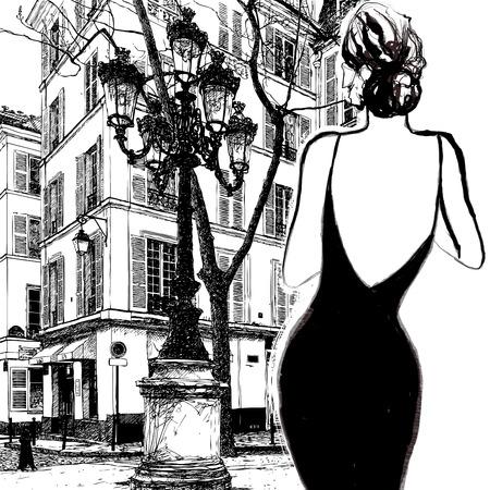donne eleganti: Giovane donna elegante in un abito nero a Parigi - vettore