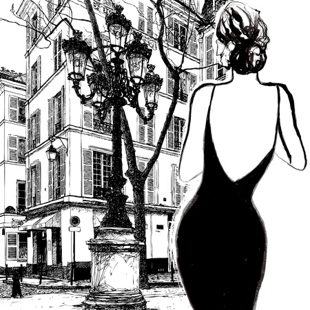 elegant dress: Young elegant woman in a black dress in Paris - Vector illustration