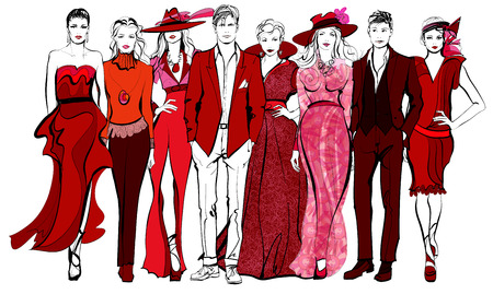 Colorful fashion women and men defile - vector illustration