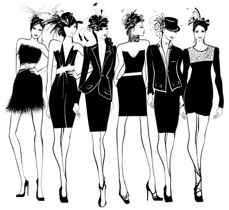 Women fashion models in black dress and feather hat - vector illustration