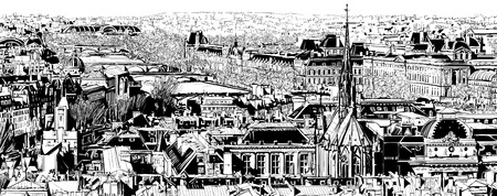 panoramic view: Panoramic view of Paris - Vector illustration