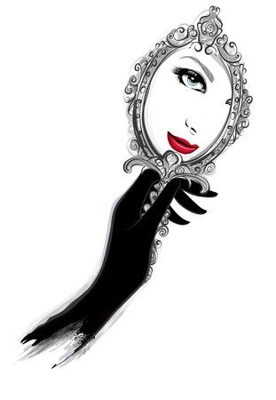 Mulher com luvas pretas olhar para um espelho - vetor