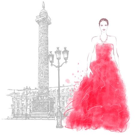 model fashion: Young woman fashion model place vendome in Paris - Vector illustration