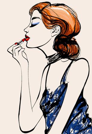 Attractive woman fashion model applying lipstick - Vector illustration