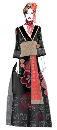 fictitious: Fashion model in geisha style dress - Illustration ( all chinese and japanese characters are fictitious)