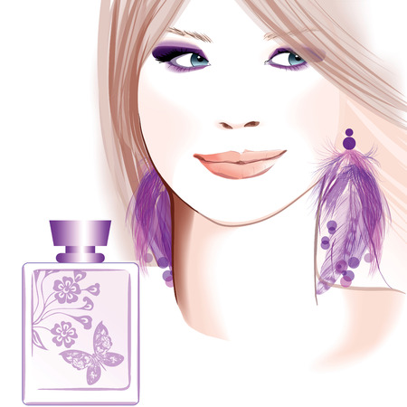 body oil: Young pretty woman advertising for perfume - Vector illustration
