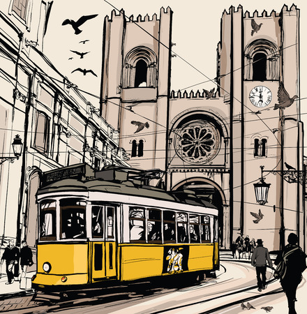 Typical tramway in Lisbon near Se cathedral - Vector illustration Stock Illustratie