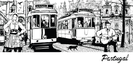 tramway: Portugal - composition on city of Lisbon - Vector illustration