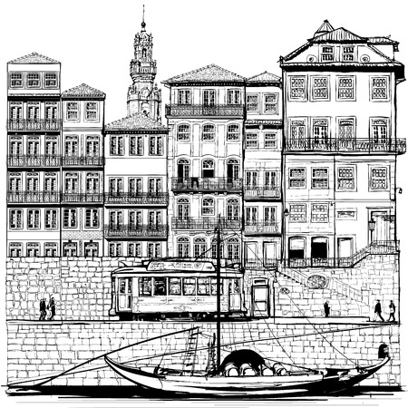 wood creeper: Portugal, old Porto and traditional boat - Vector illustration