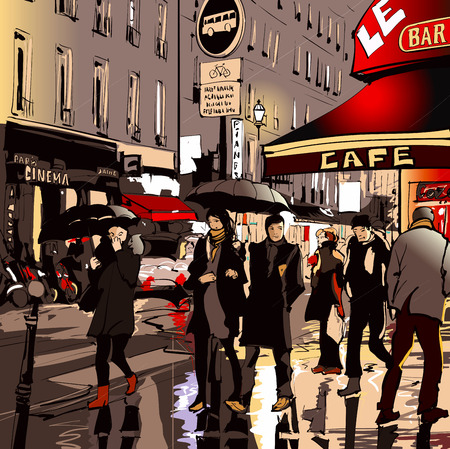 cafe sign: Street in Paris at night - vector illustration