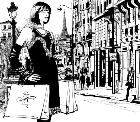 Vrouwen winkelen in Parijs illustratie