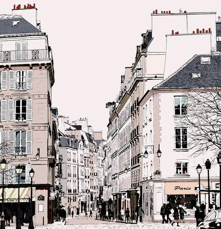 bocetos de personas: Paris - Calle de Saint Germain - ilustraci�n vectorial