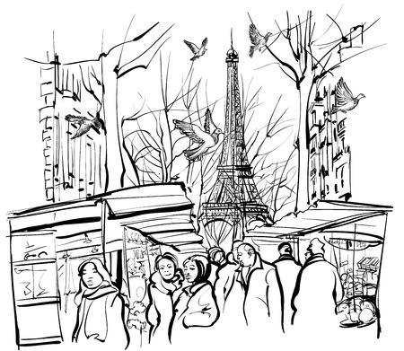 view of a market in Paris near the Eiffel tower - vector illustration Ilustração