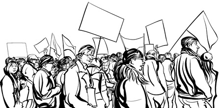 Protesters crowd walking in a demonstration - vector illustration Иллюстрация