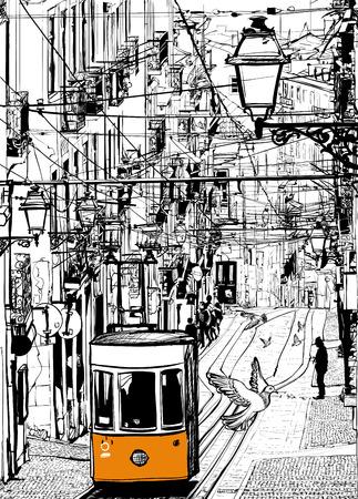 쉬아 광장 근처 리스본에서 전형적인 트램 - 벡터 일러스트 레이 션 스톡 콘텐츠 - 35819069