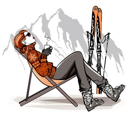 mujer tomando cafe: Mujer que tiene una rotura de tomar café después de esquiar - ilustración vectorial