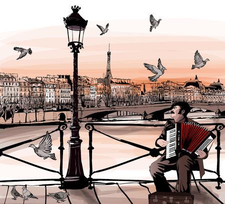 acordeon: Accodionist jugando en Pont des Arts en París - ilustración vectorial