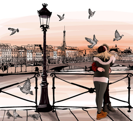 sights: Young couple in love on Pont des arts in Paris - vector illustration