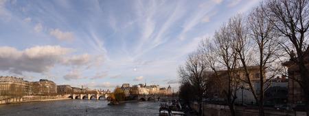 ile de la cite: Paris, France - January 24 2015: Daylight view of the ile de la cite from le pont des arts.