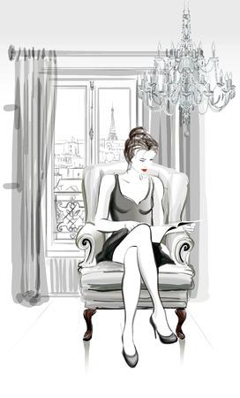 파리에서 좋은 아파트에서 꽤 젊은 여자 읽기 잡지 - 벡터 일러스트 레이 션