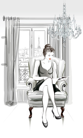 building sketch: Pretty young woman reading magazine in a nice apartment in Paris - vector illustration