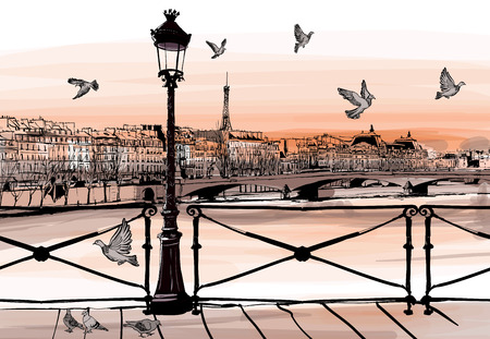romance: Zachód słońca na rzece Seine z Pont des Arts w Paryżu - ilustracji wektorowych