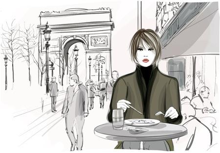Mooie vrouw met een lunch in de Champs-Elysees avenue in Parijs - Vector illustratie