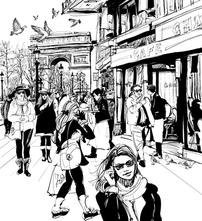 avenue: People walking at the Champs-Elysees avenue in Paris Illustration