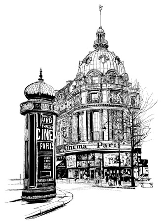 sketch sketches: View of Paris at the grand boulevard - vector illustration