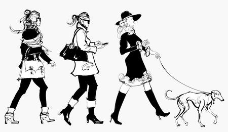 거리에서 산책하는 여성 - 벡터 일러스트 레이 션 일러스트