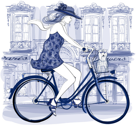 Happy young bicyclist riding in a street in Paris with a little dog - vector illustration