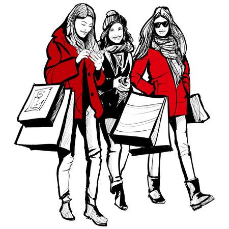 bocetos de personas: Tres mujeres de moda jóvenes de compras - ilustración vectorial Vectores