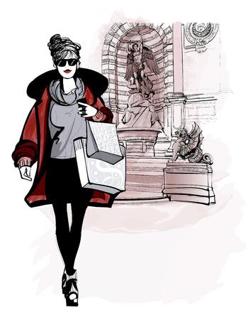woman near Saint Michel in Paris - vector illustration Vettoriali