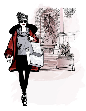building sketch: woman near Saint Michel in Paris - vector illustration Illustration