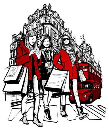 3 つの若いファッショナブルな女性ロンドン ベクトル イラストでのショッピング