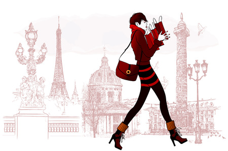 Woman shopping in Paris - Vector illustration Vettoriali