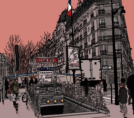 View of a street in Paris with metro station - vector illustration