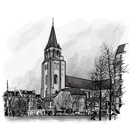 francais: France, Paris, Ancient church Saint Germain des Pres - vector illustration